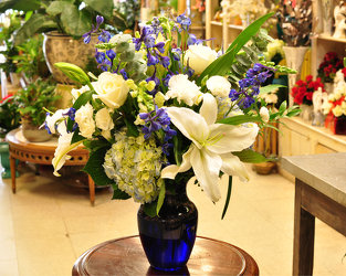 Beautiful in Blue and White Upper Darby Polites Florist, Springfield Polites Florist
