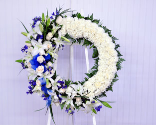 Blue and White Wreath Upper Darby Polites Florist, Springfield Polites Florist