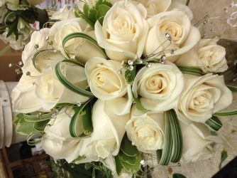 Bride' Bouquet-all white roses Upper Darby Polites Florist, Springfield Polites Florist