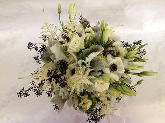 Bridesmaid-white, silver and black Upper Darby Polites Florist, Springfield Polites Florist