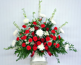 Funeral Basket-Red and White Upper Darby Polites Florist, Springfield Polites Florist