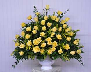Funeral Urn-Yellow Roses Upper Darby Polites Florist, Springfield Polites Florist