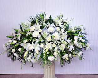 Peace and Purity Casket Spray Upper Darby Polites Florist, Springfield Polites Florist