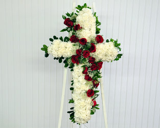 Standing Cross-White with Red Rose Break Upper Darby Polites Florist, Springfield Polites Florist