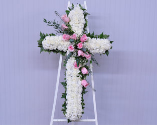Standing Cross with Pink Roses Upper Darby Polites Florist, Springfield Polites Florist