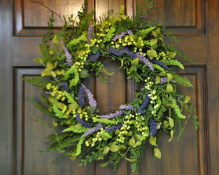 Wreath- Green berries with lavender Sage Upper Darby Polites Florist, Springfield Polites Florist