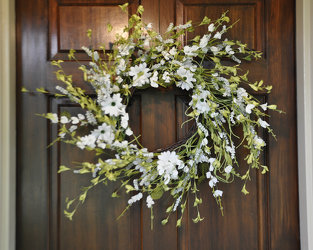 Wreath- White Zinnias and Veronica Upper Darby Polites Florist, Springfield Polites Florist